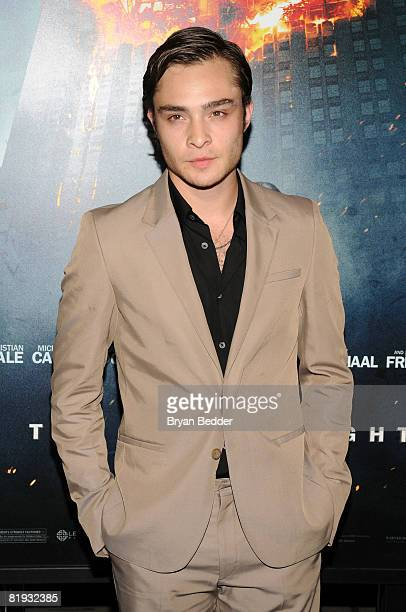 Actor Ed Westwick arrives at the world premiere of The Dark Knight at AMC Loews Lincoln Square IMAX on July 14 2008 in New York City