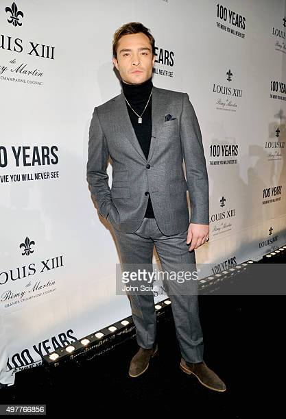 Actor Ed Westwick attends Louis XIII Celebration of '100 Years' The Movie You Will Never See starring John Malkovich at a private residence on...