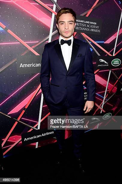Actor Ed Westwick attends the 2015 Jaguar Land Rover British Academy Britannia Awards presented by American Airlines at The Beverly Hilton Hotel on...