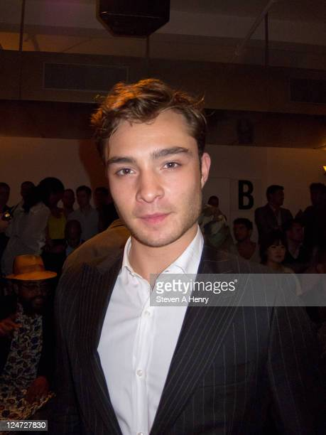 Actor Ed Westwick attends the Simon Spurr Spring 2012 fashion show during MercedesBenz Fashion Week at Milk Studios on September 11 2011 in New York...