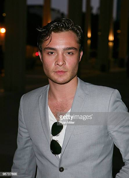 Actor Ed Westwick poses during the arrivals for the opening night performance of Alfred Hitchcock's The 39 Steps at the Center Theatre Group/Ahmanson...