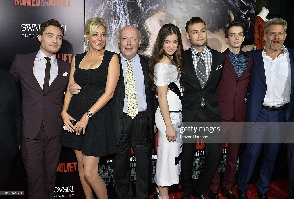 Actor Ed Westwick, producers Nadja Swarovski, Julian Fellowes, actors Hailee Steinfeld, Douglas Booth, Kodi Smit-McPhee, and producer Lawrence Elman arrive at the premiere of Relativity Media's 'Romeo And Juliet' at ArcLight Cinemas on September 24, 2013 in Hollywood, California.