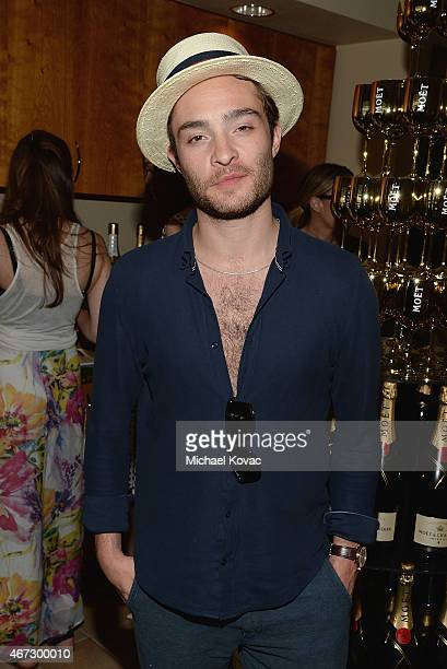 Actor Ed Westwick visits The Moet and Chandon Suite at the 2015 BNP Paribas Open on March 22 2015 in Indian Wells California