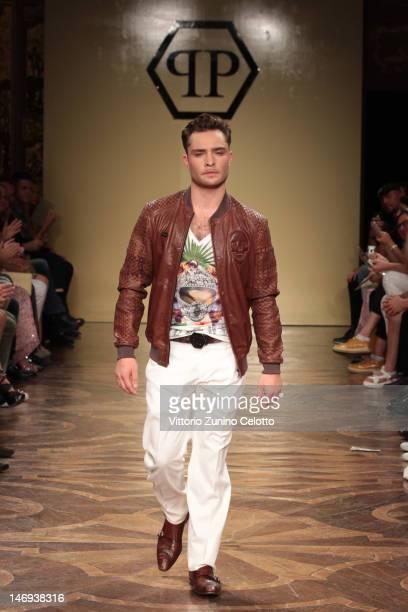 Actor Ed Westwick walks the runway during the Philipp Plein show as part of Milan Fashion Week Menswear Spring/Summer 2013 on June 23 2012 in Milan...