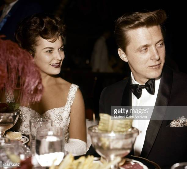 Actor Edd Byrnes with wife actress Asa Maynor attend a party in Los Angeles, California.