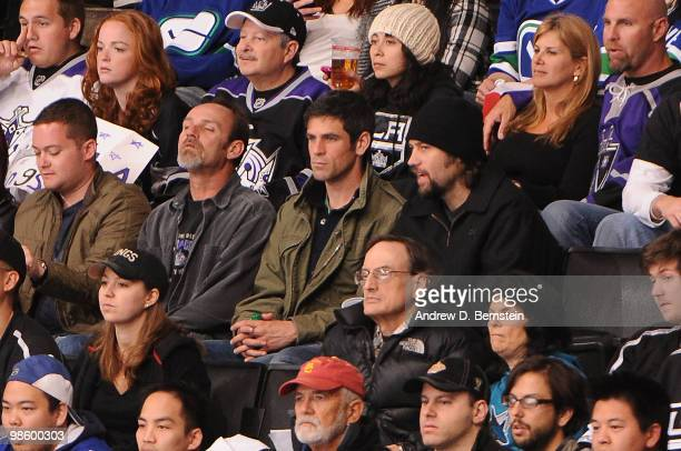 Actor Eddie Cahill watches as the Los Angeles Kings take on the Vancouver Canucks in Game Four of the Western Conference Quarterfinals during the...