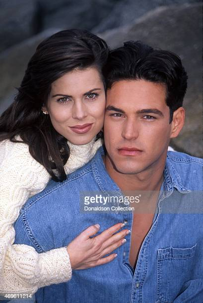 Actor Eddie Cibrian and actress Julianne Morris pose for a portrait in 1996 in Los Angeles California