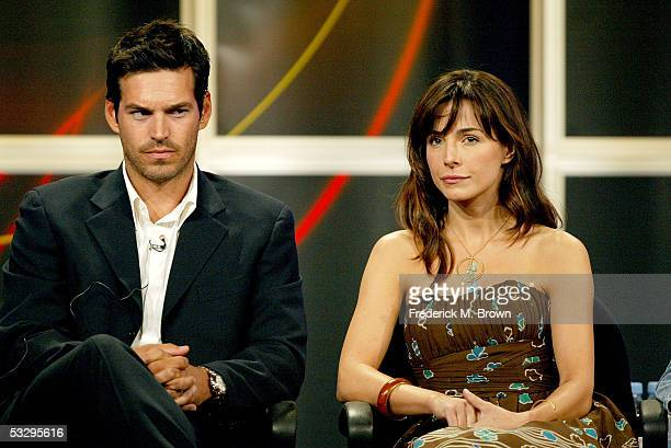 Actor Eddie Cibrian and actress Lisa Sheridan attend the panel discussion for Invasion during the ABC 2005 Television Critics Association Summer...
