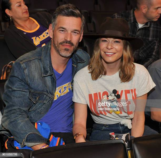 Actor Eddie Cibrian and singer LeAnn Rimes attend a basketball game between the Los Angeles Lakers and the Oklahoma City Thunder at Staples Center on...