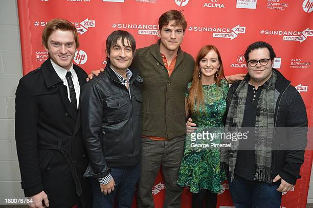 """Actor Eddie Hassell, director Joshua Michael Stern and actors Ashton Kutcher, Ahna O'Reilly and Josh Gad attend the """"jOBS"""" Premiere during the 2013..."""