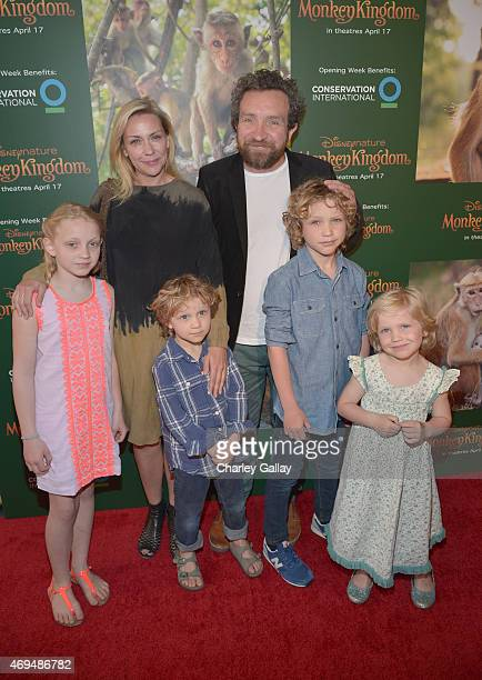Actor Eddie Marsan and Janine Schneider and children attend the world premiere Of Disney's Monkey Kingdom at Pacific Theatres at The Grove on April...