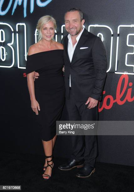 Actor Eddie Marsan and wife Janine SchneiderMarsan attend the premiere of Focus Features' 'Atomic Blonde' at The Theatre at Ace Hotel on July 24 2017...