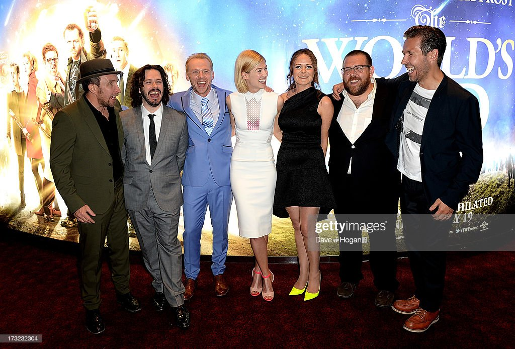Actor Eddie Marsan, director Edgar Wright, actors Simon Pegg, Rosamund Pike, producer Nira Park and actors Nick Frost and Paddy Considine attend 'The World's End' world premiere at the Empire Leicester Square on July 10, 2013 in London, England.