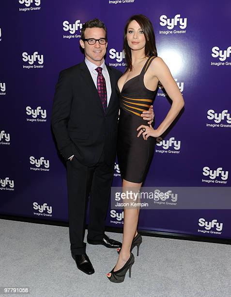 Actor Eddie McClintock and actress Joanne Kelly attend the 2010 Syfy Upfront party at The Museum of Modern Art on March 16 2010 in New York City