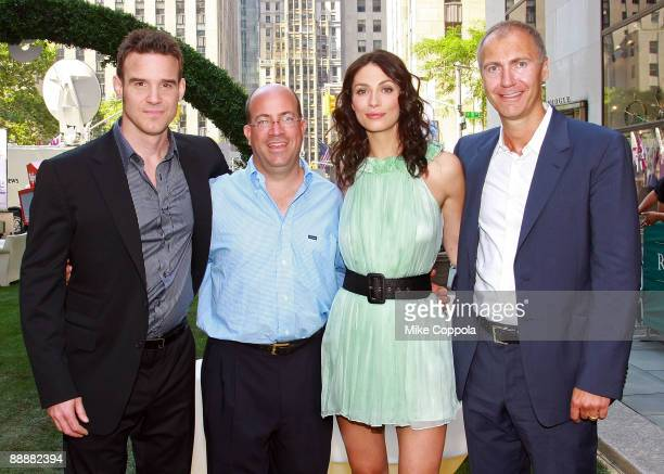 Actor Eddie McClintock, President and CEO of NBC Universal Jeff Zucker, actress Joanne Kelly, and SyFy President Dave Howe attend the Syfy...
