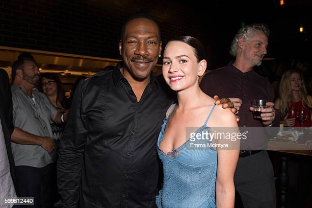 Actor Eddie Murphy and actress Britt Robertson attend the after party for the premiere of Cinelou Releasing's 'Mr Church' at ArcLight Hollywood on...
