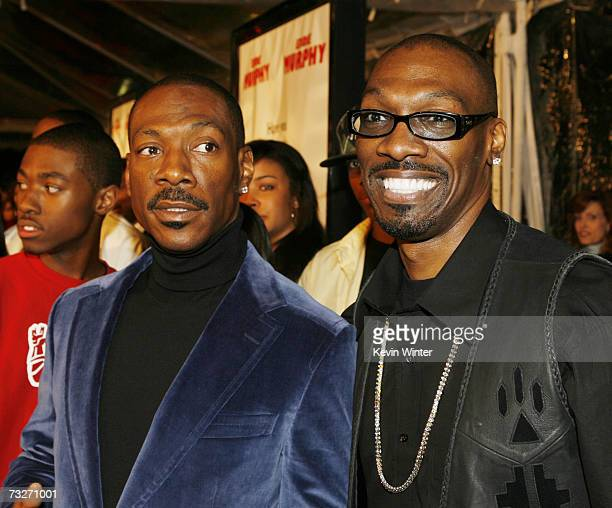 Actor Eddie Murphy and brother screenwriter Charlie Murphy pose at the premiere of Dreamworks' 'Norbit' at the Mann Village Theatre on February 9...
