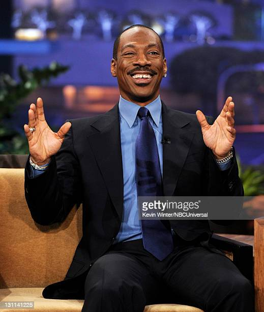 Actor Eddie Murphy appears on The Tonight Show With Jay Leno at NBC Studios on November 1 2011 in Burbank California