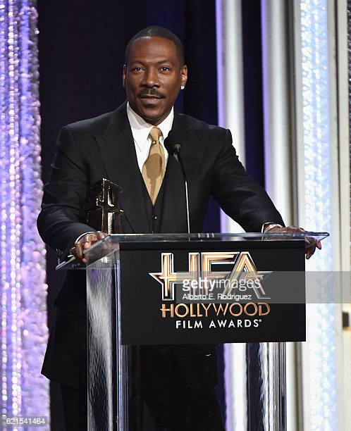 "Actor Eddie Murphy recipient of the ""Hollywood Career Achievement Award"" speaks onstage during the 20th Annual Hollywood Film Awards on November 6..."