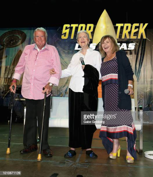 Actor Eddie Paskey actresses Joanne Linville and Sandy Gimpel pose at the Guest Stars of the Original Series Part 2 panel during the 17th annual...