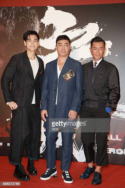 Actor Eddie Peng actor Sean Lau and actor Louis Koo attend the premiere of director Benny Chan MukSing's film 'Call of Heroes' on August 10 2016 in...