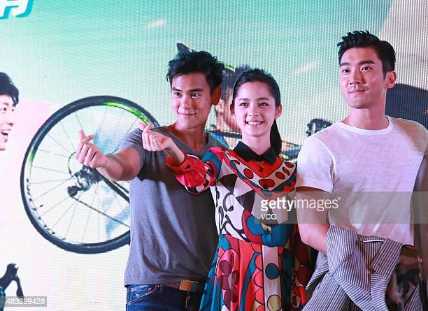 Actor Eddie Peng actress Nana OuYang and singer and actor Choi Siwon attend press conference of film 'To The Fore' on August 7 2015 in Guangzhou...