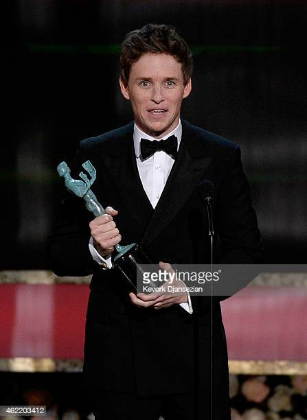 Actor Eddie Redmayne accepts the award for Outstanding Performance by a Male Actor in a Leading Role onstage at the 21st Annual Screen Actors Guild...