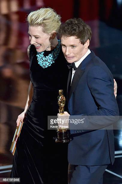 Actor Eddie Redmayne accepts the Best Actor in a Leading Role Award for The Theory of Everything from Cate Blanchett onstage during the 87th Annual...