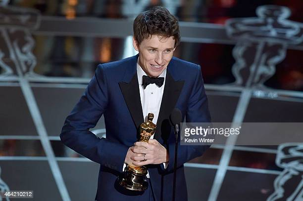 """Actor Eddie Redmayne accepts the Best Actor in a Leading Role Award for """"The Theory of Everything"""" onstage during the 87th Annual Academy Awards at..."""