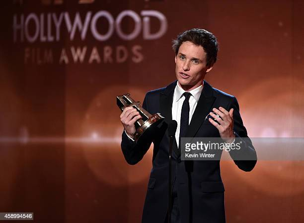 Actor Eddie Redmayne accepts the Hollywood Breakout Performance Actor Award for 'The Theory of Everything' onstage during the 18th Annual Hollywood...