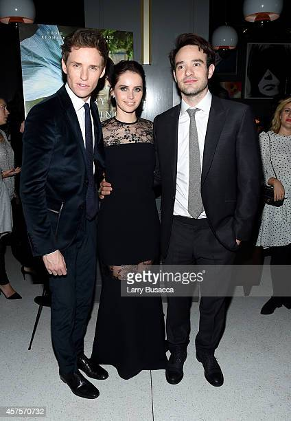 Actor Eddie Redmayne actress Felicity Jones and actor Charlie Cox attend The Theory Of Everything New York Premiere After Party at Museum of Modern...
