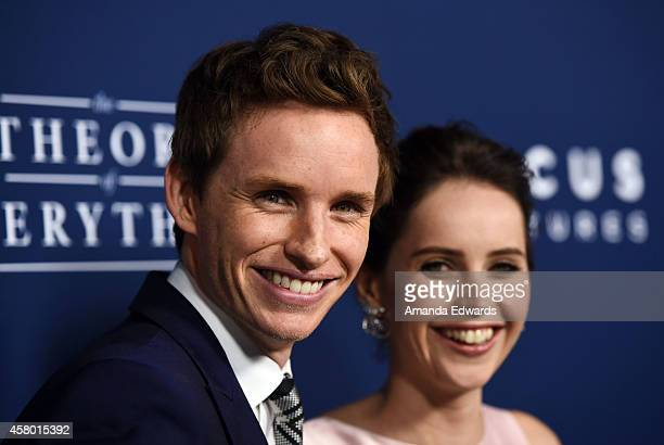 Actor Eddie Redmayne and actress Felicity Jones arrive at the Los Angeles premiere of The Theory Of Everything at the AMPAS Samuel Goldwyn Theater on...