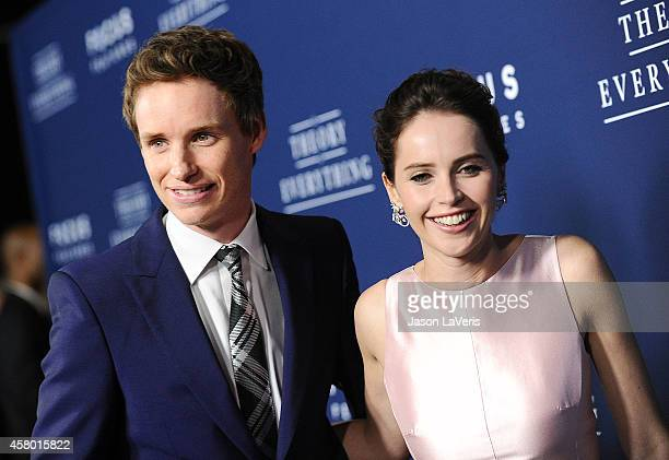 Actor Eddie Redmayne and actress Felicity Jones attend the premiere of The Theory of Everything at AMPAS Samuel Goldwyn Theater on October 28 2014 in...