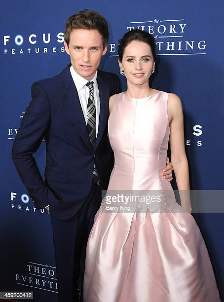 Actor Eddie Redmayne and actress Felicity Jones attend the premiere of 'The Theory of Everything' at AMPAS Samuel Goldwyn Theater on October 28 2014...