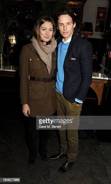 Actor Eddie Redmayne and Hannah Bagshawe attend an after party following the press night performance of 'Peter And Alice' at The National Cafe on...
