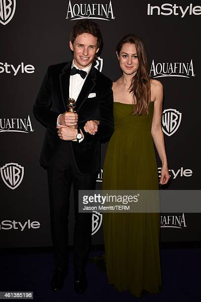 Actor Eddie Redmayne and Hannah Bagshawe attend the 2015 InStyle And Warner Bros 72nd Annual Golden Globe Awards PostParty at The Beverly Hilton...