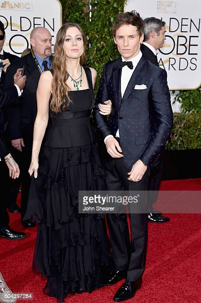 Actor Eddie Redmayne and Hannah Bagshawe attend the 73rd Annual Golden Globe Awards held at the Beverly Hilton Hotel on January 10 2016 in Beverly...
