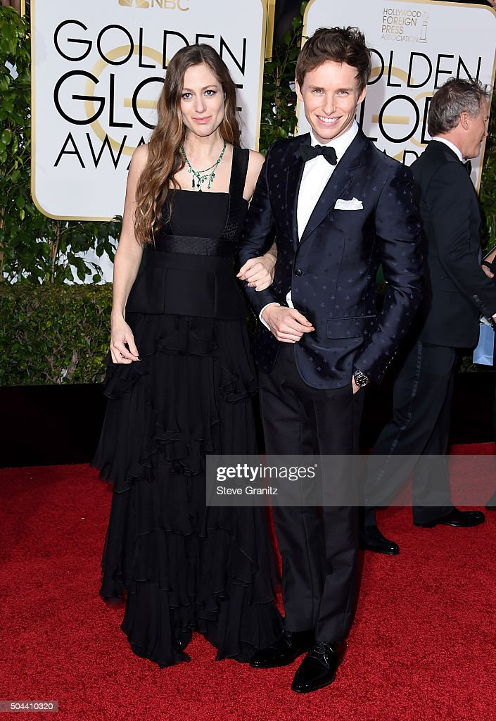 Actor Eddie Redmayne (R) and Hannah Bagshawe attend the 73rd Annual Golden Globe Awards held at the Beverly Hilton Hotel on January 10, 2016 in Beverly Hills, California.