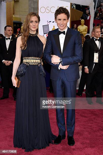 Actor Eddie Redmayne and Hannah Bagshawe attend the 87th Annual Academy Awards at Hollywood Highland Center on February 22 2015 in Hollywood...