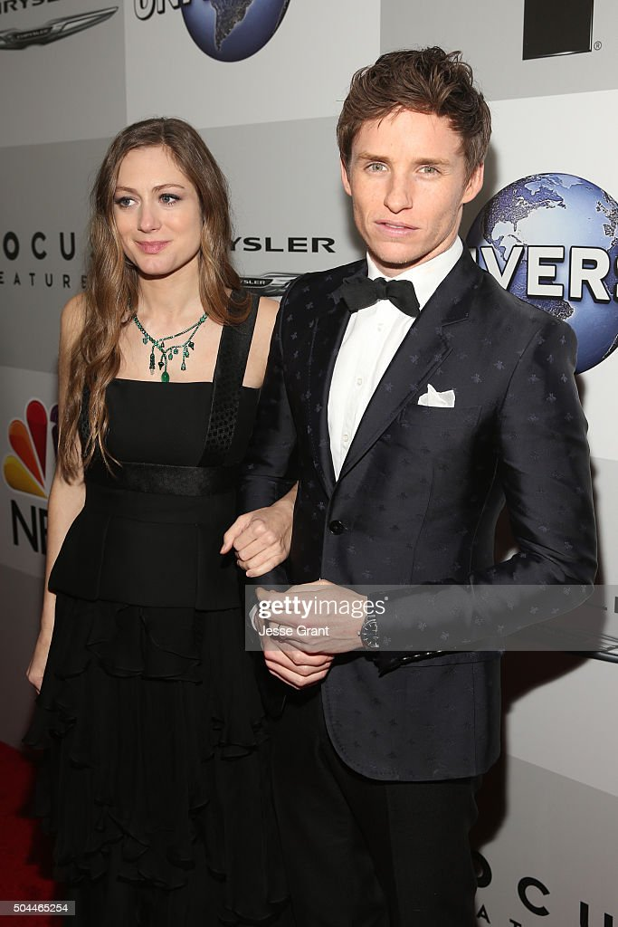 Actor Eddie Redmayne (R) and Hannah Bagshawe attend Universal, NBC, Focus Features and E! Entertainment Golden Globe Awards After Party sponsored by Chrysler at The Beverly Hilton Hotel on January 10, 2016 in Beverly Hills, California.