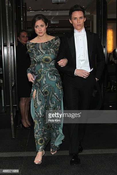 Actor Eddie Redmayne and Hannah Bagshawe depart the Mark Hotel for the Costume Institute Gala at the Metropolitan Museum of Art on May 5 2014 in New...
