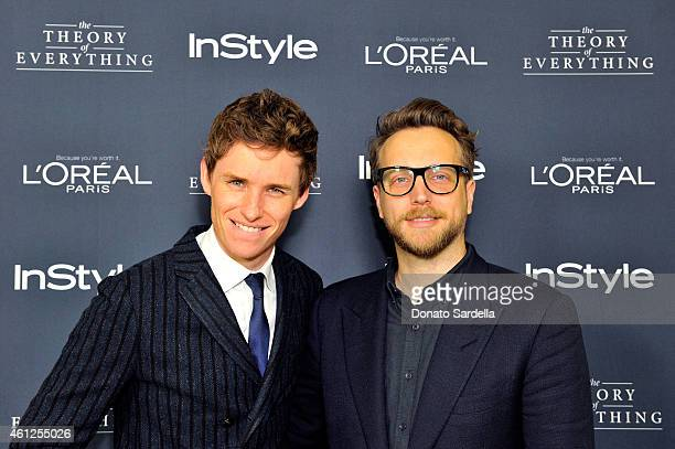 Actor Eddie Redmayne and InStyle Editor in Chief Ariel Foxman attend InStyle Focus Features 2015 Golden Globe Nominations party for The Theory Of...
