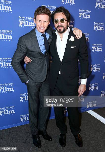 Actor Eddie Redmayne and SBIFF director Roger Durling attend the 30th Santa Barbara International Film Festival 'Cinema Vanguard' award for 'The...