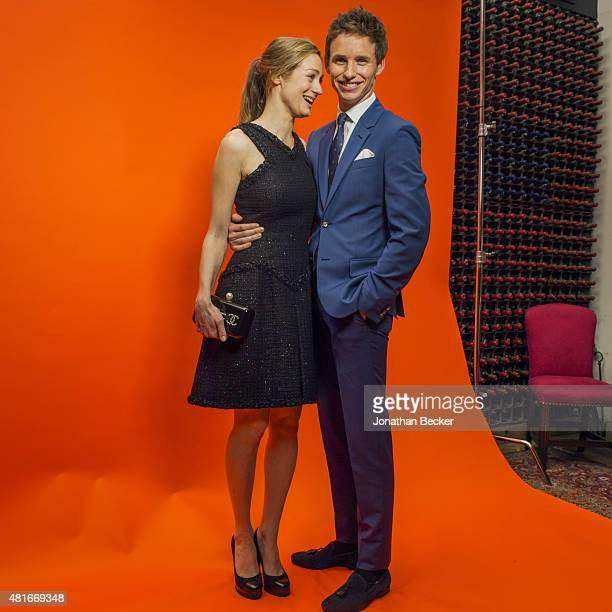 Actor Eddie Redmayne and wife Hannah Bagshawe are photographed at the Charles Finch and Chanel's PreBAFTA on February 7 2015 in London England...
