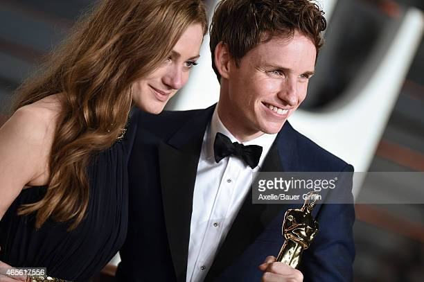 Actor Eddie Redmayne and wife Hannah Bagshawe arrive at the 2015 Vanity Fair Oscar Party Hosted By Graydon Carter at Wallis Annenberg Center for the...