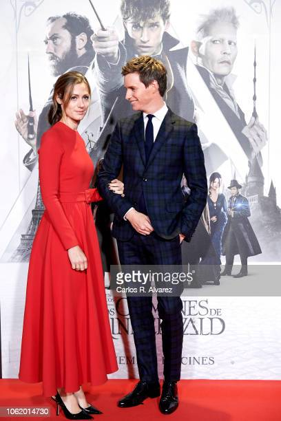 Actor Eddie Redmayne and wife Hannah Bagshawe attend 'Animales Fantasticos Los Crimenes De Grindelwald' premiere at the Kinepolis cinema on November...