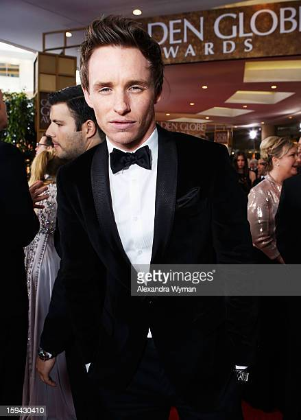 Actor Eddie Redmayne arrives at the 70th Annual Golden Globe Awards held at The Beverly Hilton Hotel on January 13 2013 in Beverly Hills California