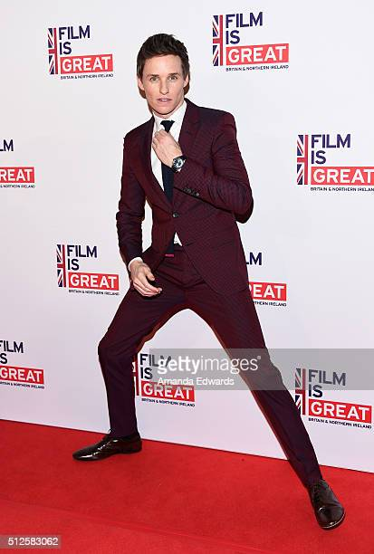 Actor Eddie Redmayne arrives at The Film Is GREAT Reception at Fig Olive on February 26 2016 in West Hollywood California