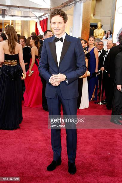 Actor Eddie Redmayne arrives in Chopard to the 87th Annual Academy Awards at Hollywood Highland Center on February 22 2015 in Hollywood California