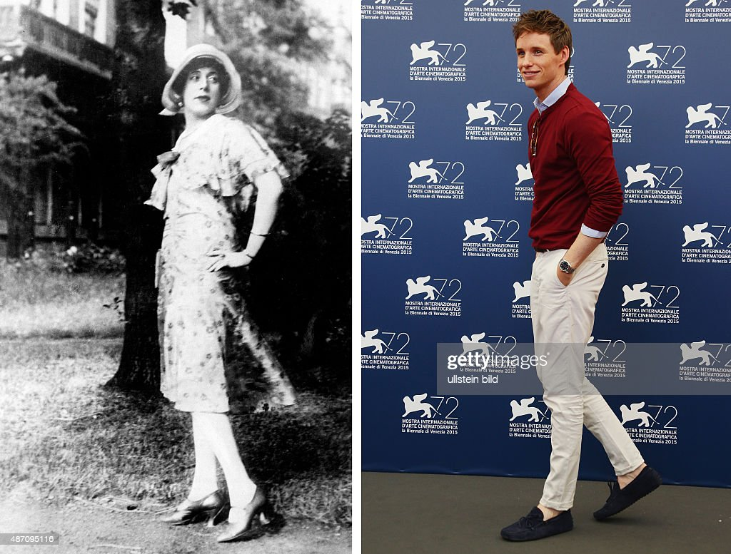 In this composite image a comparison has been made between Lili Elbe (L) and actor Eddie Redmayne. Actor Eddie Redmayne will play Lili Elbe in a film biopic 'A Danish Girl' directed by Tom Hooper. VENICE, ITALY - SEPTEMBER 05: Actor Eddie Redmayne attends a photocall for 'The Danish Girl' during the 72nd Venice Film Festival at Palazzo del Casino on September 5, 2015 in Venice, Italy.